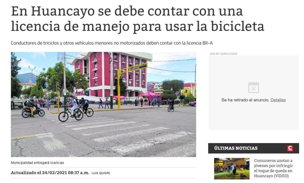 Licencia de manejo para ciclistas en Huancayo
