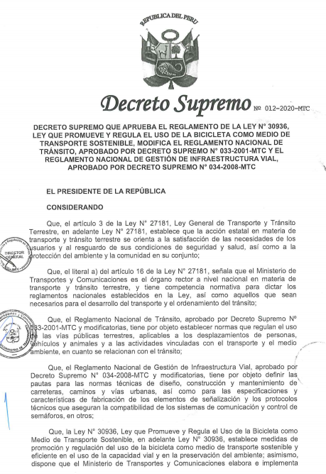 D.S. Nº 012-2020-MTC (Modificaciones al Reglamento de Transito)
