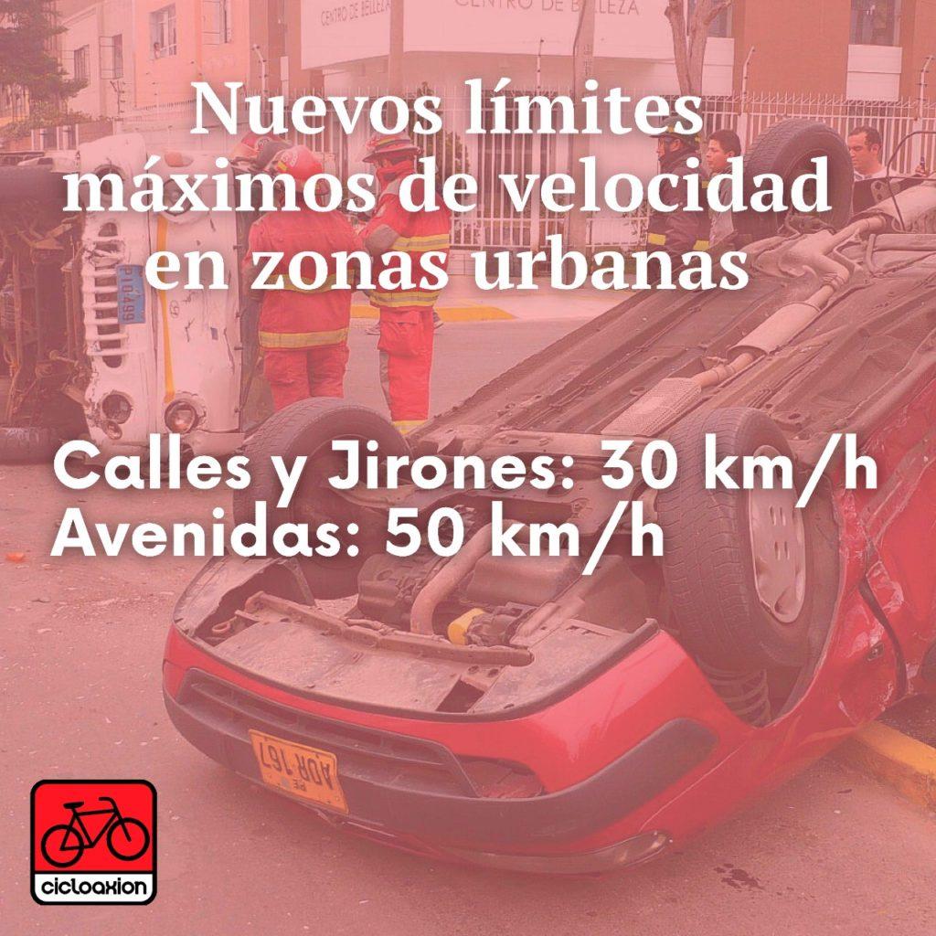 Reducción de los límites máximos de velocidad en zonas urbanas