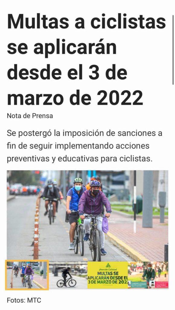 Prórroga de multas ciclistas hasta marzo 2022